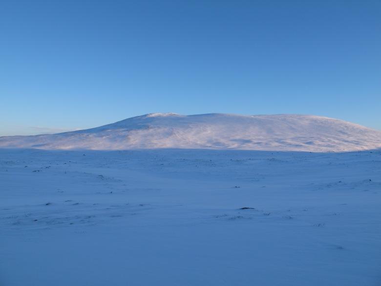 夕陽微微映著雪山