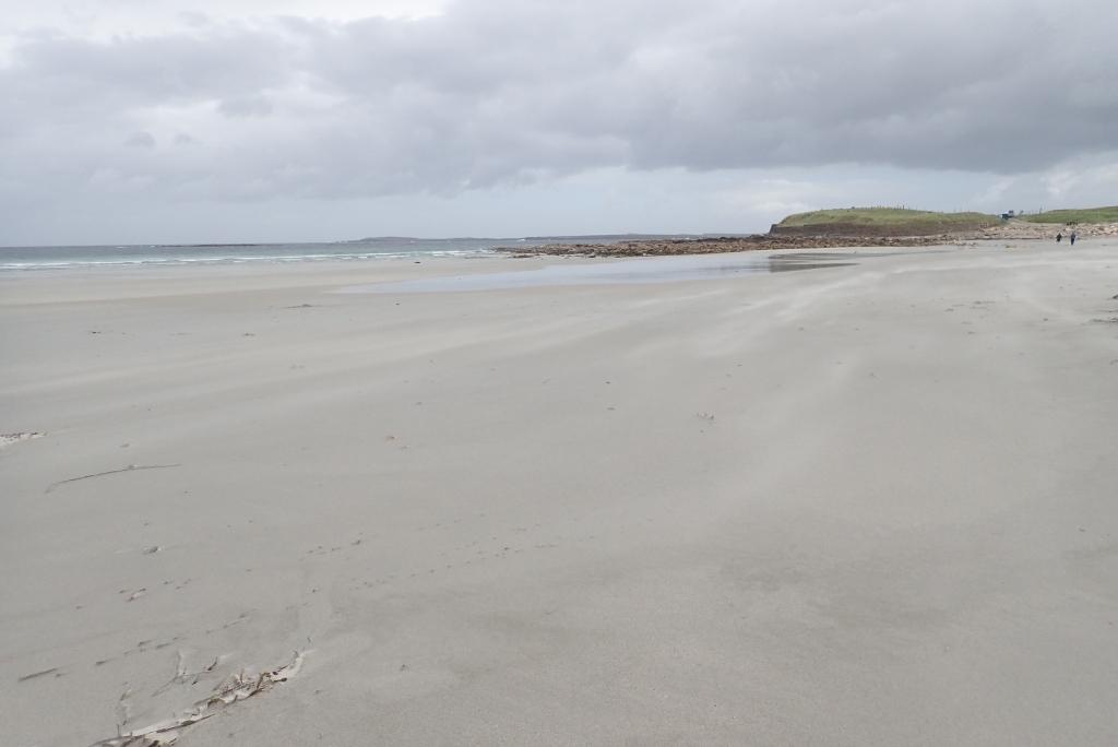 沿著沙灘在強風下漫步
