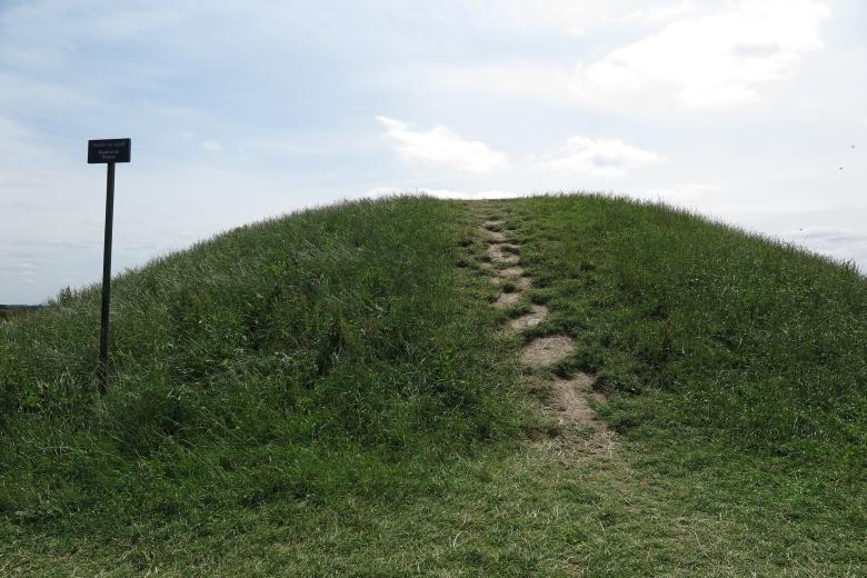 古墓外型是個小山丘,山丘中間被人走出一條小道。